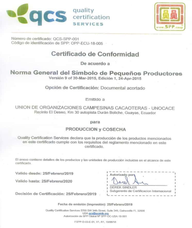 UNOCACE - Certificado SPP