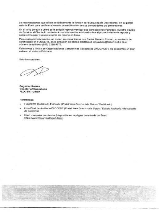 UNOCACE - Certificado FAIRTRADE