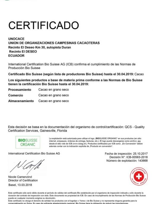 UNOCACE - Certificado BIOSUISSE 2018