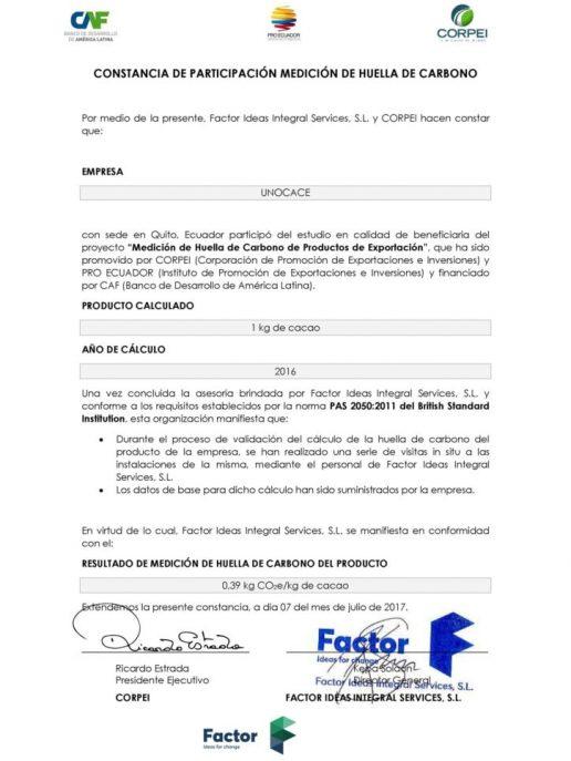 UNOCACE - Certificado de Participación 2017